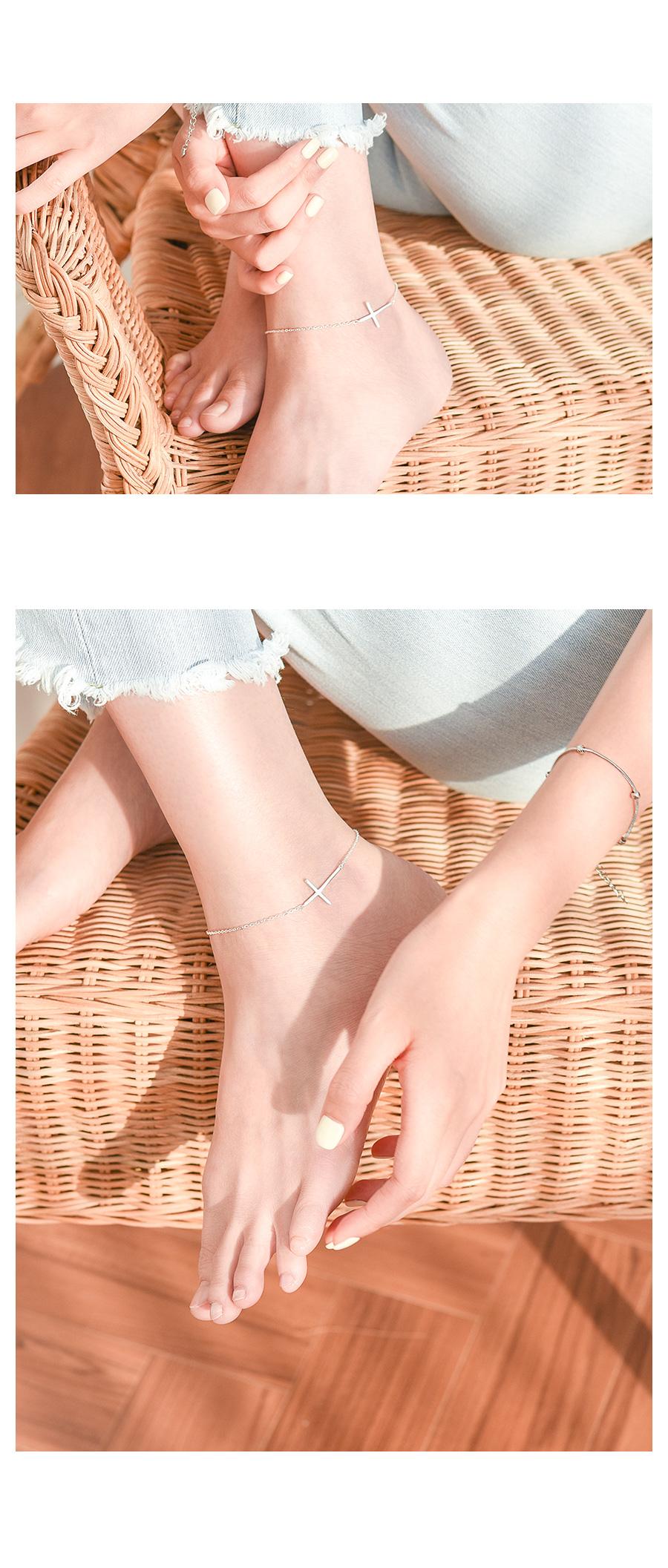 심플 체인 십자가 은발찌 - 데일리유니크, 24,900원, 발찌, 패션발찌